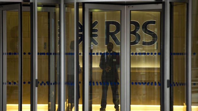 A RBS, Royal Bank of Scotland, illuminated sign and logo are seen through revolving doors inside an entrance of their offices in London, Thursday, June 13, 2013.  Bailed-out U.K. lender Royal Bank of Scotland said Wednesday that Stephen Hester will step down as chief executive later this year — a move that creates some uncertainty as the bank prepares to return to the private sector.  The board of the bank, which is 81 percent owned by the taxpayer after it was rescued by the U.K. government in 2008, said Hester was unable to make an open-ended commitment to lead the bank back into the private sector after having already served five years. The search for a successor will begin immediately.  (AP Photo/Matt Dunham)