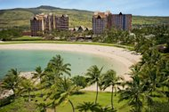 In this undated image released by Disney Destinations, Aulani, a new Disney Resort & Spa in Hawaii, is shown overlooking a white sand beach and a crystal blue lagoon. Aulani, with 840 units is located an hour from Waikiki on Oahu, showcases Hawaiian culture and its natural beauty. (AP Photo/Disney Destinations)