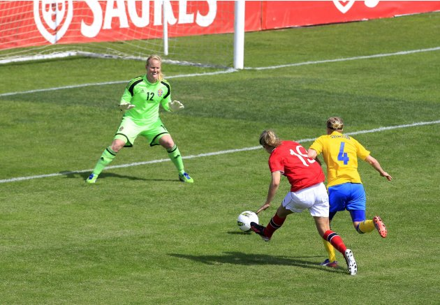 Norway's Hegerberg scores a goal against Sweden during their third place women's Algarve Cup soccer match in Lagos