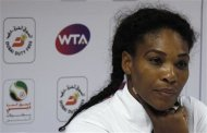 Serena Williams of the U.S. listens during a news conference at the WTA Dubai Tennis Championships in Dubai February 20, 2013. REUTERS/Jumana El Heloueh