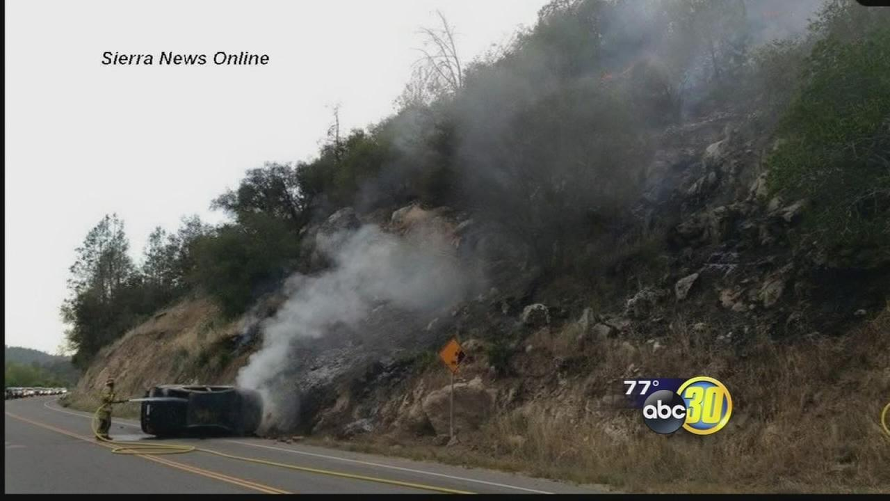 Car accident sparks fire in O'Neals area