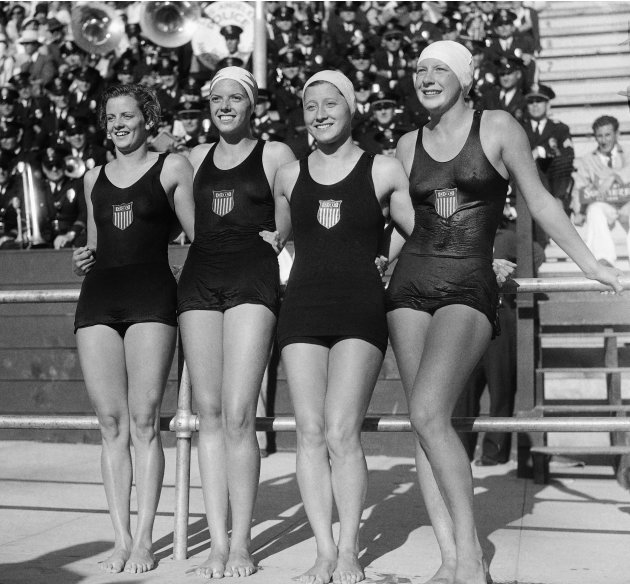 The 400 meter relay swimmimg event was won by the USA, August 14, 1932, in Los Angeles, Calif.. Left to right are; Josephine McKim, Helen Johns, Eleanor Garrati Saville, and Helene Madison. The time w