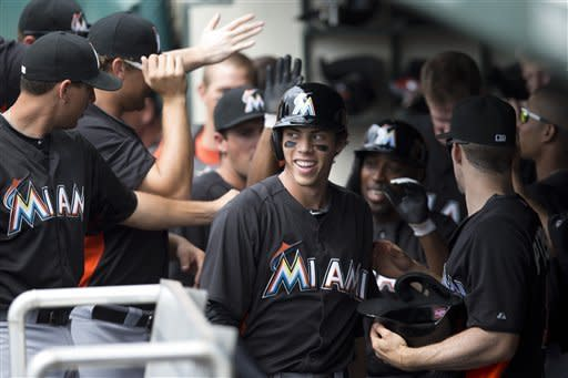Figgins 4 for 4 as Marlins beat Braves 10-2