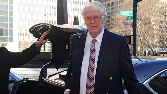 Florida energy magnate William Koch arrives at Manhattan federal court, Wednesday, March 27, 2013, in New York. Koch alleges in a federal lawsuit that California businessman Eric Greenberg sold him $300,000 in vintage wine, some of it supposedly dated to 1805, that turned out to be phony. (AP Photo/Louis Lanzano)