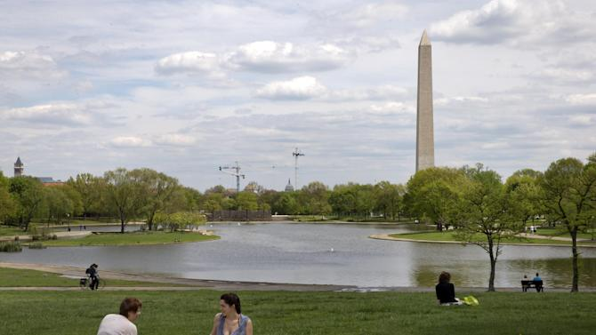 People enjoy warm weather at Constitution Gardens on the National Mall in Washington, Friday, May 2, 2014. For years, the mall's grounds and facilities have fallen into disrepair, even though it's is the most-visited national park. Visitors often find dead grass, broken sidewalks and fetid pools of water. (AP Photo/Jacquelyn Martin)