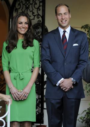 Prince William and Kate, the Duke and Duchess of Cambridge, share a laugh during a private reception at the British Consul-General's residence in Los Angeles, Friday, July 8, 2011. (AP Photo/Chris Pizzello, Pool)