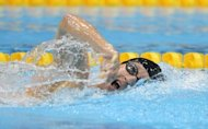 US swimmer Bradley Snyder swims to victory in the men's 400m freestyle S11 swimming final during the London 2012 Paralympic Games at the Olympic Park Aquatics Centre in east London. Snyder won exactly a year to the day since he was blinded on the battlefields of Afghanistan