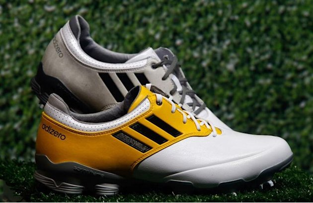 Adidas golf shoes &quot;Adizero&quot; are pictured during the company's annual news conference in Herzogenaurach