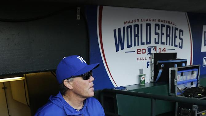 Kansas City Royals manager Ned Yost walks into the team's dugout before Game 4 of baseball's World Series between the Kansas City Royals and the San Francisco Giants Saturday, Oct. 25, 2014, in San Francisco. (AP Photo/Jeff Chiu)