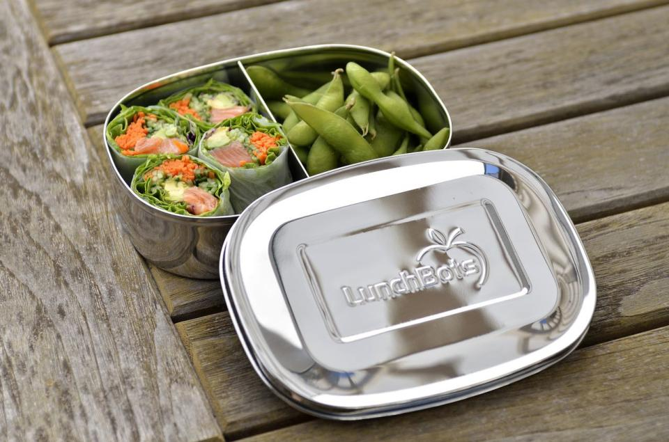 In this photo provided by LunchBots, a multi-compartment divided container makes it easy to create a bento box-style lunch as shown here. (AP Photo/LunchBots)