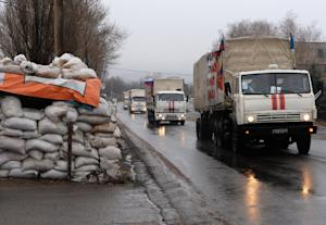 A Russian convoy carrying humanitarian aid for residents …