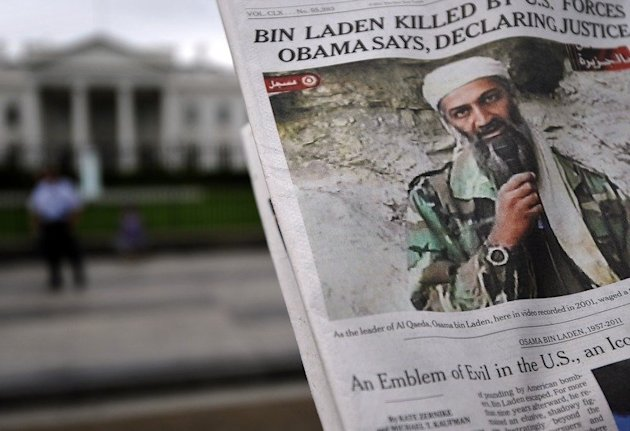 A newspaper reports on the death of Al-Qaeda leader Osama bin Laden in Washington, DC, on May 2, 2011. The Navy SEAL who killed Osama bin Laden broke his silence, recounting in an interview the night he shot the Al-Qaeda leader three times and the financial anxiety he now faces as an unemployed civilian