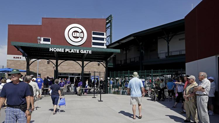 Cubs Park before an exhibition spring training baseball game between the Chicago Cubs and the Los Angeles Dodgers Friday, March 14, 2014, in Mesa, Ariz. (AP Photo/Morry Gash)