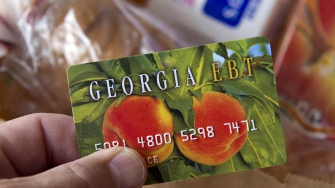 A food stamp card, made to resemble a credit card.