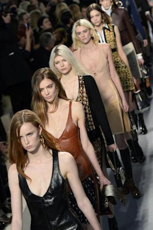 Models present creations for Louis Vuitton during the…