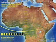 This map of the Nov. 3, 2013 solar eclipse shows the path of totality and percentage of sun coverage by the moon across Africa. Cartographer Michael Zeiler of Eclipse-Maps.com.