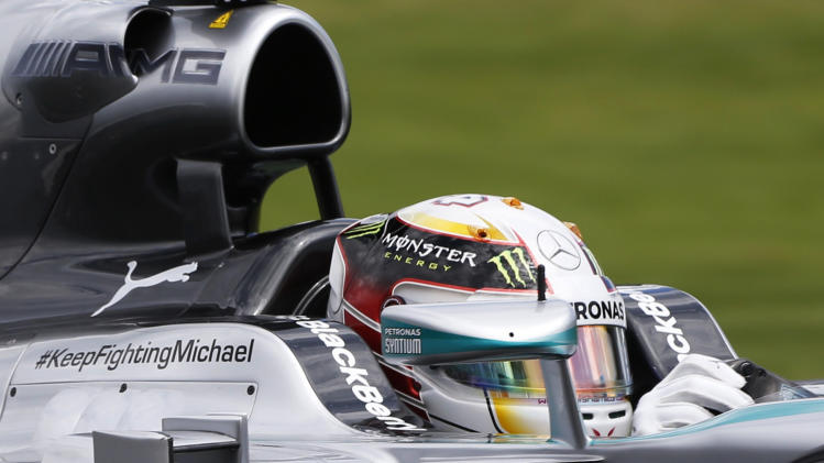 Mercedes Formula One driver Hamilton of Britain drives during the third practice session of the Australian F1 Grand Prix in Melbourne