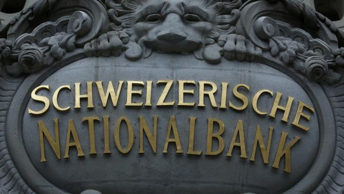 The logo of the Swiss National Bank is seen at the entrance of the SNB in Bern