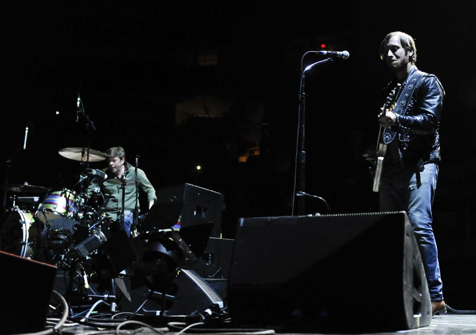 Guitarist/vocalist Dan Auerbach and drummer Patrick Carney of The Black Keys performing at Madison Square Garden on Monday, March 12, 2012 in New York.  (AP Photo/Evan Agostini)