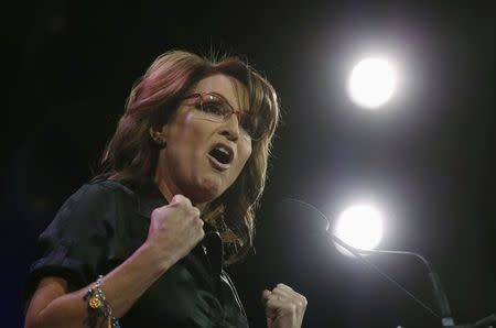 Former Governor of Alaska Sarah Palin speaks at the Freedom Summit in Des Moines