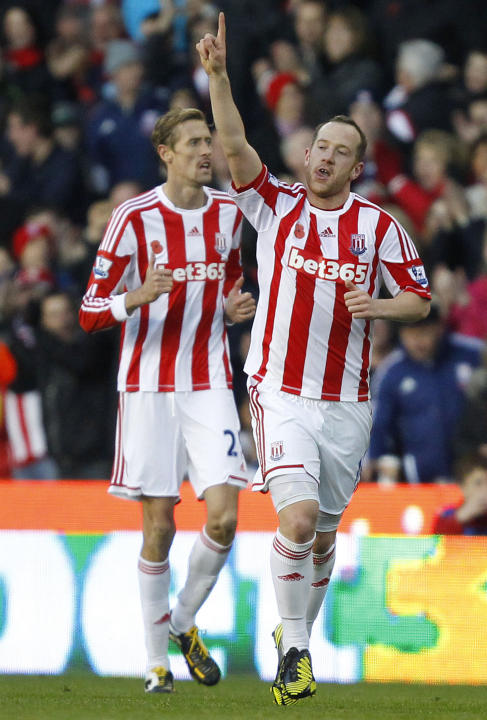 Charlie Adam, right, scored the only goal as Stoke beat Fulham