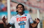 Napoli's forward Edinson Cavani reacts during the Italian Serie A football match between Catania and SSC Napoli at the Massimino Stadium in Catania. The match ended in a 0-0 draw