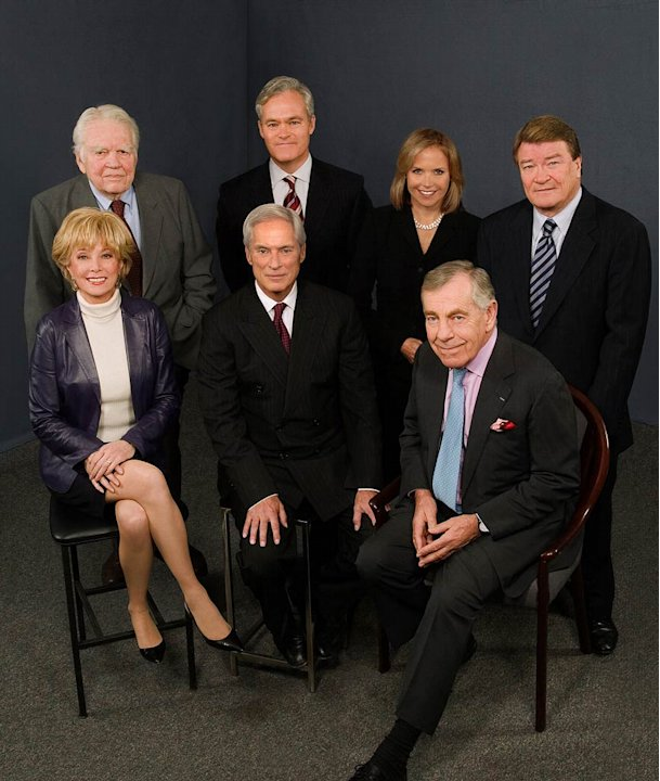 Correspondents Andy Rooney, Scott Pelley, Katie Couric and Steve Kroft, Lesley Stahl, Bob Simon and Morley Safer of 60 Minutes.