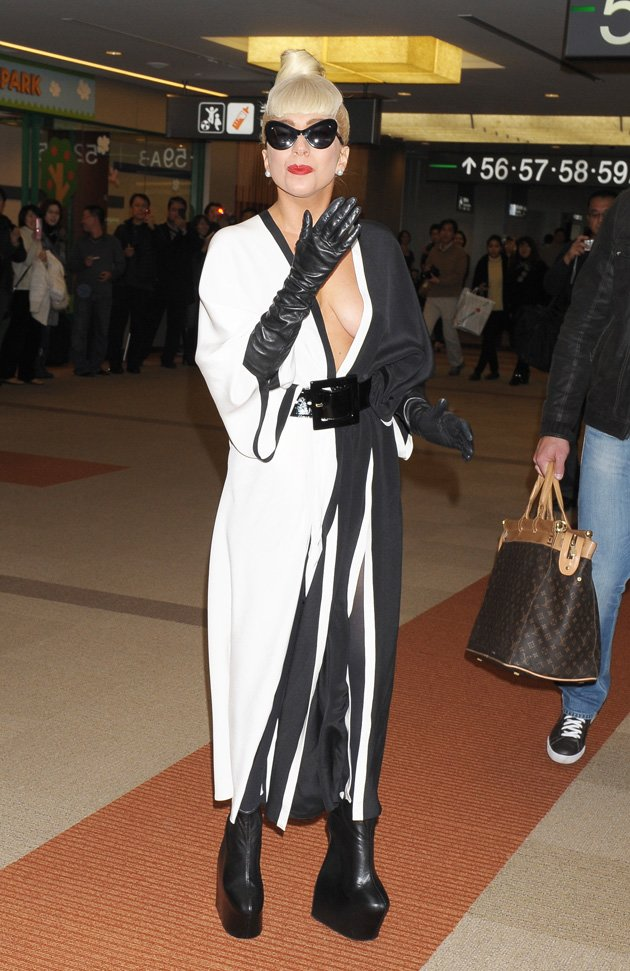 Gaga wore monochrome as she …
