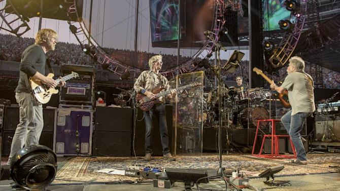 IMAGE DISTRIBUTED FOR THE GRATEFUL DEAD - TTrey Anastasio, from left, Phil Lesh, Mickey Hart, Bob Weir of The Grateful Dead perform at Grateful Dead Fare Thee Well Show at Soldier Field on Saturday, July 4, 2015, in Chicago, Ill. (Photo by Jay Blakesberg/Invision for the Grateful Dead/AP Images)