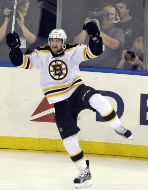 Boston Bruins' Daniel Paille celebrates after scoring during the third period in Game 3 of the Eastern Conference semifinals in the NHL hockey Stanley Cup playoffs against the New York Rangers Tuesday, May 21, 2013, in New York. The Bruins won the game 2-1. (AP Photo/Frank Franklin II)