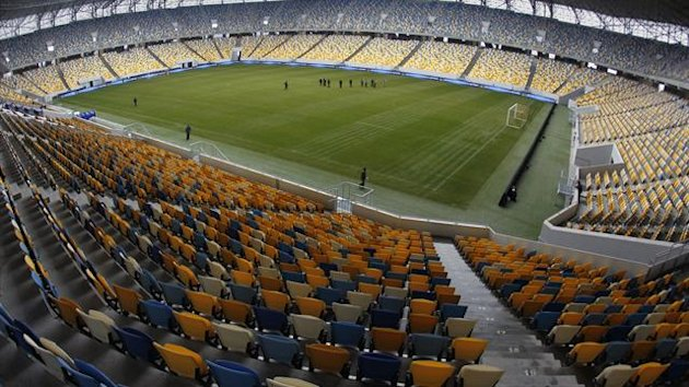 A view shows the interior of the Arena Lviv stadium in Lviv (Reuters)