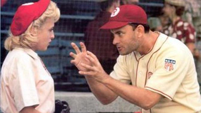 "This image released by Columbia TriStar Home Video shows a scene from the movie ""A League of Their Own"" as manager Jimmy Dugan (Tom Hanks) admonishes Evelyn Gardner (Bitty Schram) with the memorable line ""there's no crying in baseball."" Memorable movies, including ""Breakfast at Tiffany's,"" ""Dirty Harry,"" ""A League of Their Own"" and ""The Matrix"" are being preserved for their enduring significance in American culture as The Library of Congress announces, Wednesday, Dec. 19, 2012, the slate of films it will induct into the National Film Registry. (AP Photo/Columbia TriStar Home Video)"