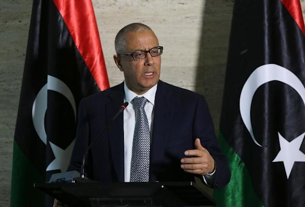 Libya's Prime Minister Ali Zeidan speaks during a press conference on March 8, 2014 in the capital, Tripoli