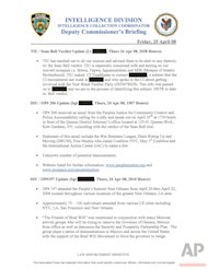 This image shows the front of an April 25, 2008 Deputy Commissioner's briefing from the New York Police Department's Intelligence Division. The document provides the latest example of how, in the name of fighting terrorism, law enforcement agencies around the country have scrutinized groups that legally oppose government policies. (AP Photo)