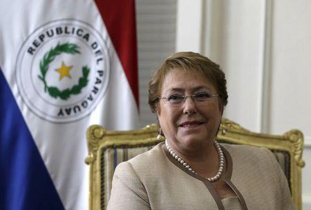 Chile's President Michelle Bachelet looks on during a private meeting with Paraguay's President Horacio Cartes at Lopez Presidential Palace in Asuncion