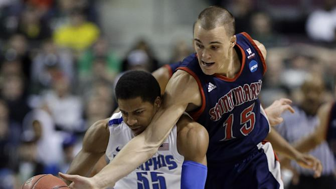 Saint Mary's forward Beau Levesque (15) fouls Memphis guard Geron Johnson (55) while trying for a steal in the second half of a second-round game of the NCAA college basketball tournament in Auburn Hills, Mich., Thursday March 21, 2013. Memphis won 54-52. (AP Photo/Paul Sancya)