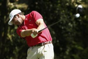 Spain's Jose Maria Olazabal hits his tee shot on the second hole during the first round of the 2014 Masters golf tournament at the Augusta National Golf Club in Augusta