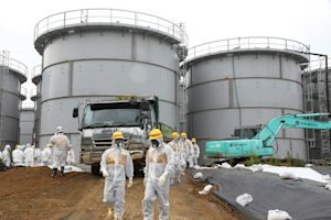 Nuclear watchdog members inspect the site at Fukushima…