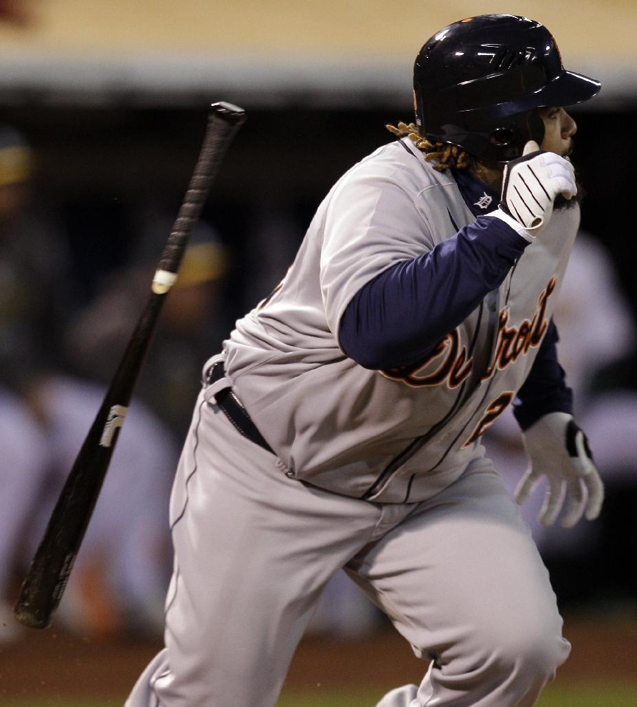 Detroit Tigers Prince Fielder tosses his bat as he grounds out in the first inning of Game 5 of an American League division baseball series against the Oakland Athletics in Oakland, Calif., Thursday, Oct. 11, 2012. (AP Photo/Ben Margot)