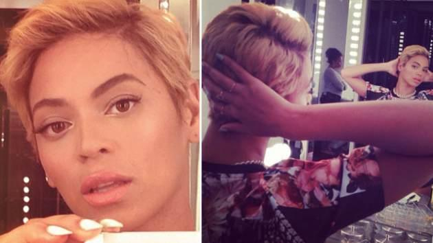 Beyonce shows off her new short blonde pixie cut on August 7, 2013 -- Instagram