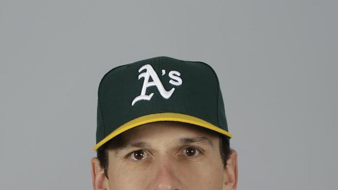 This is a 2015 photo of Dan Otero of the Oakland Athletics baseball team. This image reflects the Athletics active roster as of Feb. 28, 2015, when this image was taken. (AP Photo/Darron Cummings)