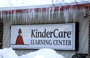 Icicles line the exterior of KinderCare Learning Center …