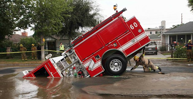 Fire engine and sinkhole