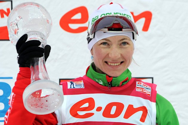 Belarus's Darya Domracheva Reacts AFP/Getty Images