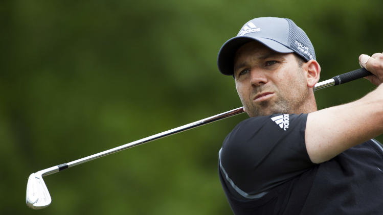Sergio Garcia hits off the tee on the 10th hole during the third round of the Houston Open golf tournament, Saturday, April 5, 2014, in Humble, Texas. (AP Photo/Patric Schneider)