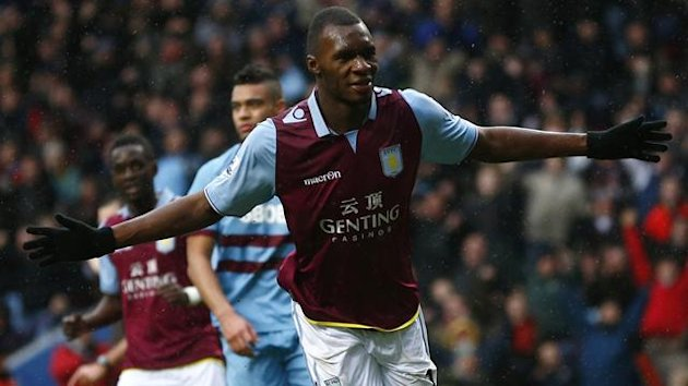 Aston Villa's Christian Benteke celebrates after scoring from the penalty spot (Reuters)