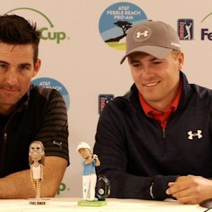 Jordan Spieth and Jake Owen talk about their bobbleheads