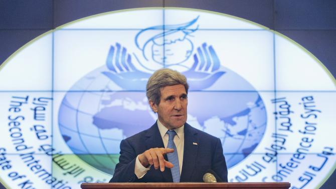 U.S. Secretary of State John Kerry speaks during his news conference at Syrian Donors Conference at the Bayan Palace in Kuwait City