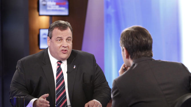 "In this photo provided by ABC News New Jersey Gov. Chris Christie responds to questions by ABC's ""This Week"" host George Stephanopoulos at the ABC studio in New York Sunday, Sept. 30, 2012. Christie, who also appeared Sunday on another talk show predicted that Romney will do ""extraordinarily well"" in the upcoming debate Wednesday night and that after that ""this whole race is going to be turned upside down."" (AP Photo/ABC News, Lou Rocco)"