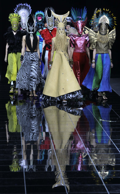 Models display  creations by Russian designer Konstantin Gayday during the Volvo Fashion Week in Moscow, Russia, Monday, Oct. 31, 2011. (AP Photo/Misha Japaridze)